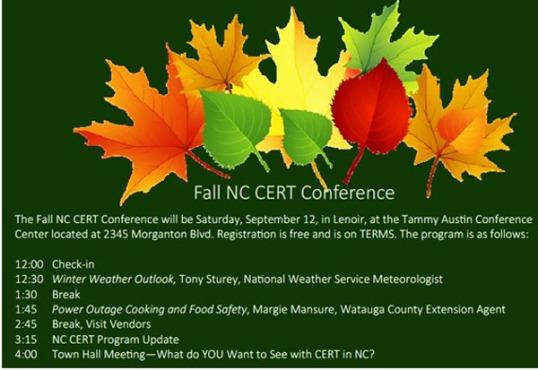 NC CERT Fall agenda
