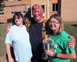 """CERT Moulage artists Rosemary and Michaela Hall with """"victim"""" Curt Hiller"""
